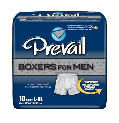 "Prevail Boxers for Men - Large/X-Large (Waist Size 38-64""), 4 Bags of 10 (40 ct)"