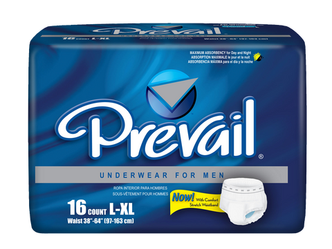 "Prevail Protective Underwear For Men- Large/X-Large (Hip Size 44""-64""), 4 Bags of 18 (72 ct)"