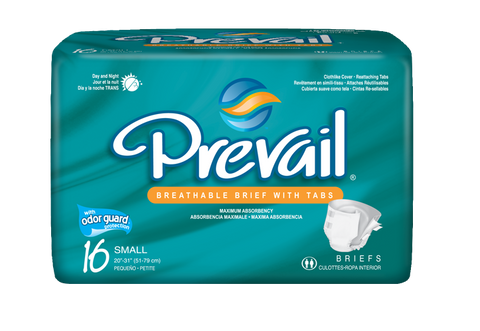 "Prevail Brief – Small (Waist Size 20""-31""), 6 Bags of 16 (96 ct)"