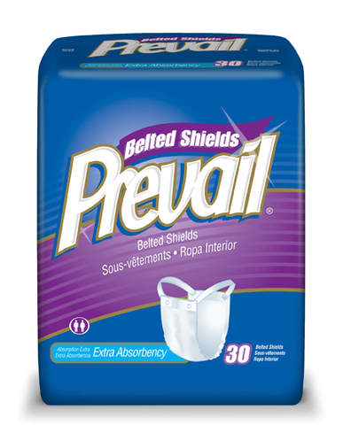 Prevail Underwear Garment, Belted Shields, 4 packs 30 ea (120 ct)