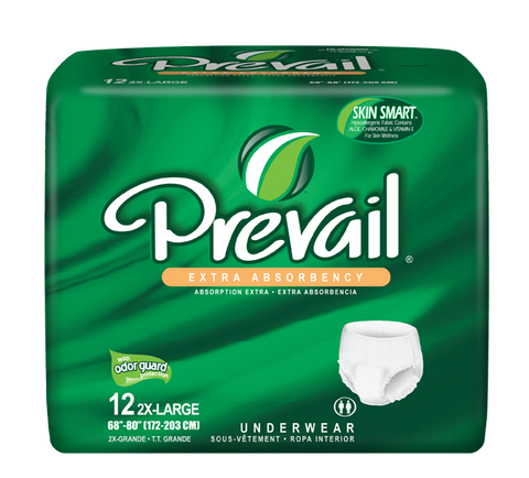 "Prevail Protective Underwear Unisex– 2X-Large (Hip Size 68""-80""), 4 Bags of 12 (48 ct)"