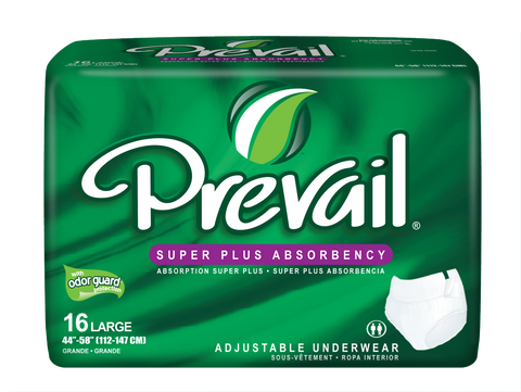 Prevail Protective Adjustable Underwear Lg, 4 packs, 16 ea (64 ct)