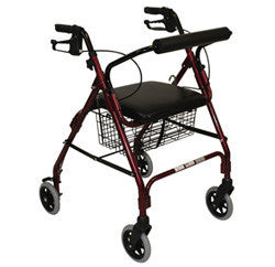 "Roscoe Rollator 6"" with basket and brakes red"