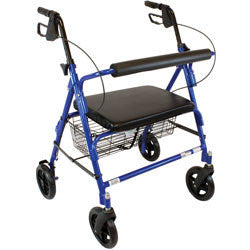 "Roscoe Rollator Barriatric 8"" with basket 400lbs blue"