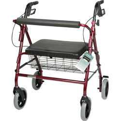 "Roscoe Rollator Barriatric 8"" with basket 400lbs red"