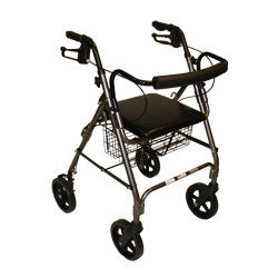 "Roscoe Rollator 8"" with basket and brakes Grey"