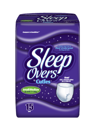 Sleep Overs Youth Pants – Small/Medium (38-65 lbs.), 4 Bags of 15 (60 ct)