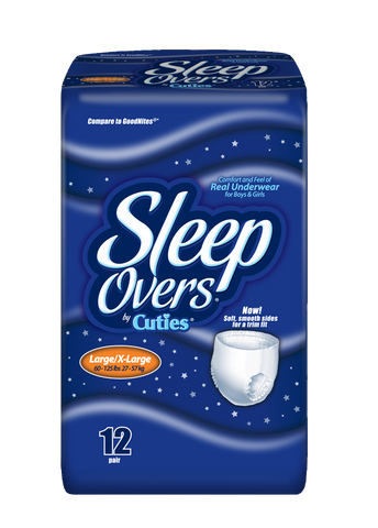 Sleep Overs Youth Pants – Large/X-Large (60-125 lbs.), 4 Bags of 12 (48 ct)