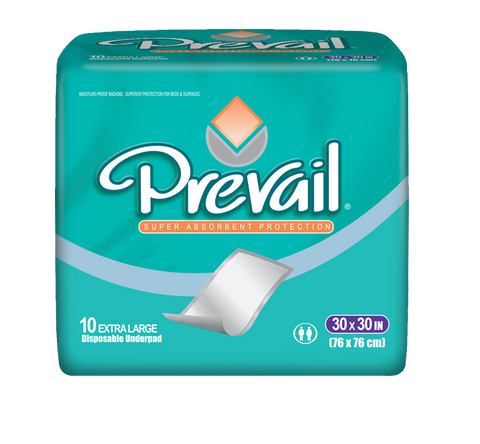 "Prevail Super Absorbent Underpad, 30""x30""- 10 Bags of 10 (100 ct)"