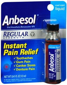 Anbesol Liquid Regular Strength, Cool Mint, 33% FREE, 0.41 oz