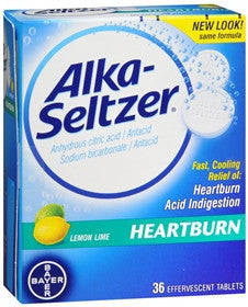 Alka-Seltzer Antacid, Heartburn Relief, Lemon-Lime, 36 tablets - PlanetRx
