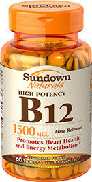 Sundown Vitamin B12 1500mcg, Time Released, 60 tablets