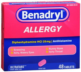 Benadryl Allergy Relief Ultratabs, 48 ea