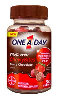 One A Day Vitacraves ChewyBites, Berry Chocolate, 50 bites