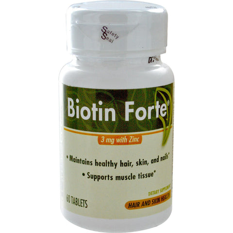 Enzymatic Therapy Biotin Forte,  3 mg with Zinc, 60 tab