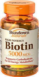 Sundown High Potency Biotin 5000mcg, 60 capsules
