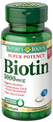 Nature's Bounty Super Potency Biotin 5000mcg, 60 softgels