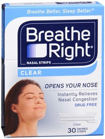Breathe Right Clear Nasal Strips, Small/Medium, 30 ea