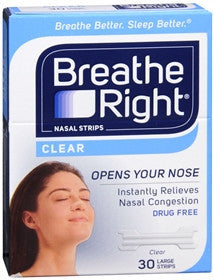 Breathe Right Clear Nasal Strips,  Large, 30 ea