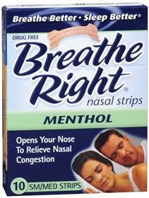 Breathe Right Vapor Nasal Strips, Small/Medium, 10 ea