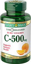 Nature's Bounty Pure Vitamin C-500mg, Time Released, 100 capsules