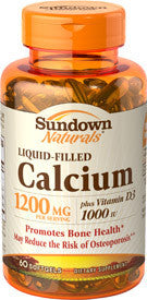 Sundown Calcium 1200mg plus Vitamin D3 Liquid Filled, 60 softgels