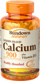 Sundown Calcium 900mg Plus Vitamin D3 Liquid Filled, 90 softgels