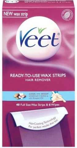 Veet Ready-To-Use Wax Strips Hair Remover,  Legs & Body, 40 count
