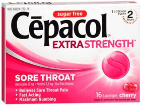 Cepacol Extra Strength Sore Throat,  Sugar Free Cherry, 16 lozenges