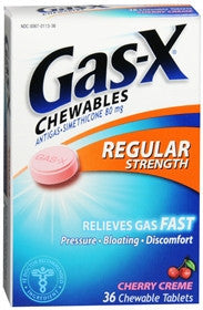 Gas-X Antigas, Regular Strength, Cherry Creme, Chewable Tablets, 36 tab