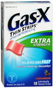 Gas-X Antigas, Extra Strength, Cinnamon Flavored Strips, 18 ea