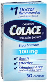 Colace Stool Softener Laxative 100 mg, 30 caps