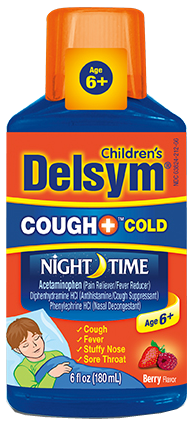 Delsym Children's Cough+ Cold Night Time, Berry, 6 oz