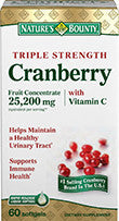 Nature's Bounty Triple Strength Natural Cranberry with Vitamin C, 60 softgels