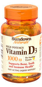 Sundown Vitamin D3-1000 IU, 100 softgels
