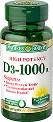 Nature's Bounty Vitamin D3-1000 IU, 100 softgels