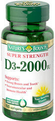 Nature's Bounty Vitamin D3-2000 IU Super Strength, 100 softgels