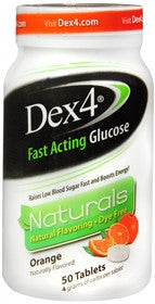 Dex4 Fast Acting Glucose Naturals, Orange, 50 tablets