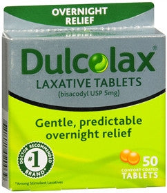 Dulcolax Overnight Relief, 50 tablets
