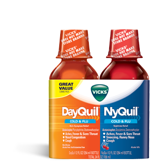 Vick's Dayquil / Nyquil Cold & Flu Relief Liquids, Citrus & Cherry flavors
