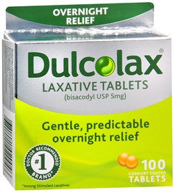 Dulcolax Overnight Relief, 100 tablets