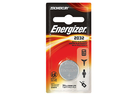 Energizer Watch Battery ECR2032BP,  3 Volt, 1 ea