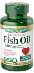 Nature's Bounty Odorless Fish Oil 1200mg, 60 softgels