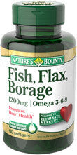 Nature's Bounty Fish, Flax, Borage 1200 mg, 60 softgels