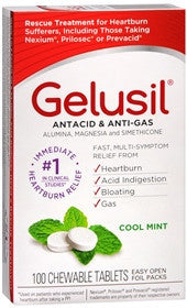 Gelusil Antacid & Anti-Gas Chewable Tablets, Cool Mint, 100 ea