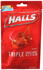 Halls Cough Drops, Cherry, 30 lozenges