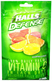 Halls Defense Vitamin C Drops, Assorted Citrus, 30 lozenges