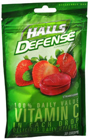Halls Defense Vitamin C Drops, Strawberry, 30 lozenges