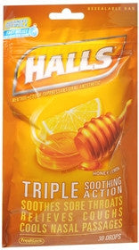 Halls Cough Drops, Honey-Lemon, 30 lozenges