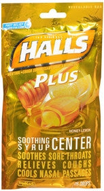 Halls Plus Drops, Honey-Lemon, 25 lozenges